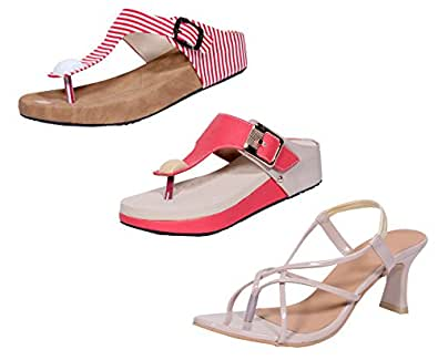 Indistar Women's Footwear Combo Pack(Pack of 2 Women Flats and 1 Women Sandal)-White/Pink::Cream/Pink-Size-10