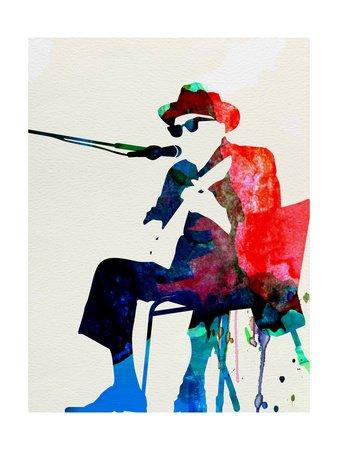 Johnny Lee Hooker Watercolor von Lora Feldman, 61x82 cm