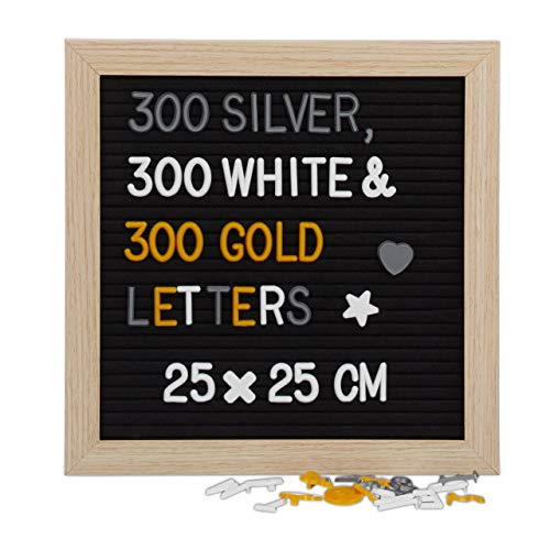 Relaxdays Letter Board, 25 x 25 cm, Holz, 900 x Zeichen, Buchstaben, Retro Rillentafel, Stecktafel, Wandmontage, schwarz