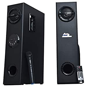 OSCAR OSC-CRS-15500BT - 2.0 LED Display with Tower Bluetooth Speaker with Karaoke Mic, Compatible with PC,TV.Card Reader and Pen Drive (Black)