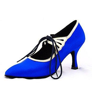 Ruhe @ Damen Dance Schuhe Satin Satin Latin/moderne Sandalen/Heels Heel Professional/innen blau Blau