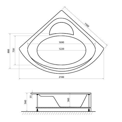 AQUADE 150x150cm Whirlpool Badewanne Indoor-Whirlpool SPA Pool Wanne 150 x 150 mit Armatur Air Relax Modell: Freiburg 7160 - 3