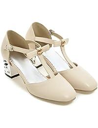 CXQ-Talones QIN&X La Mujer Tacones Bloque Toe Cuadrados Boca Superficial Sandalias Zapatos Bombas Prom