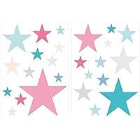 I-love-Wandtattoo Pegatina de Pared Set habitación Infantil Estrella con Las niñas de Colores en Colores Pastel Unidades Estrellado para Pegar Adhesivos de Pared Pegatinas decoración de la Pared