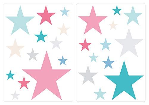 Pegatina de Pared Set habitación Infantil Estrella con Las niñas de Colores...