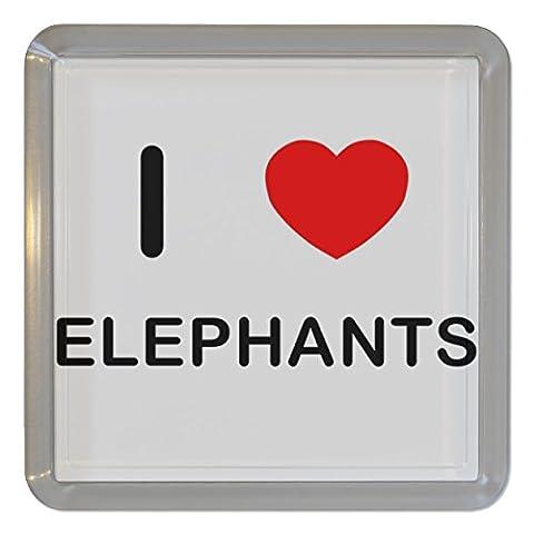 I Love Heart Elephants - Plastique transparent thé Coaster /