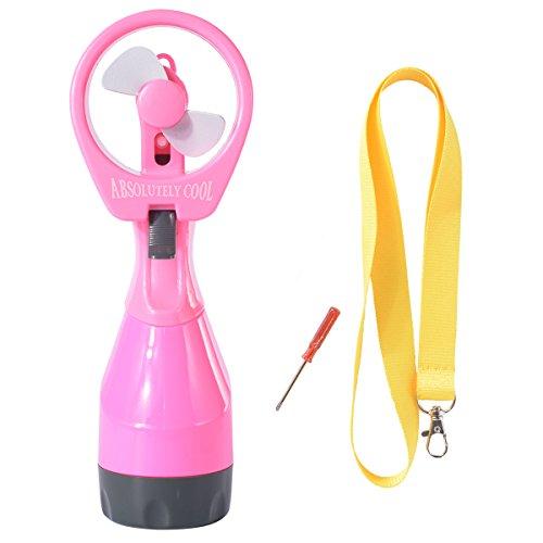 bener, Wasser sprühender Miniventilator Spray Mini Fan mit Flaschenbefeuchtungssystem + ein Schlüsselband und einem Haken HG080 (pink) (Fan, Sprays Wasser)