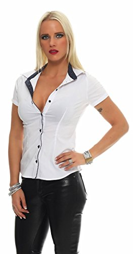11003 Fashion4Young Damen Kurzarm Businessbluse Bluse Business Hemdbluse elastischem Stretch Weiß