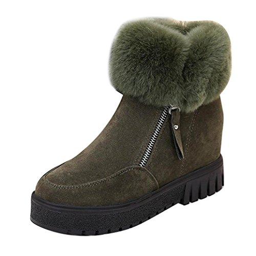 Bottes et boots,Transer®Mode Femmes cheville Suede Boots Flats garder chaude fourrure chaussures Vert