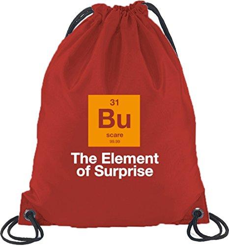 Shirtstreet24, Halloween - The Element Of Surprise, Nerd Turnbeutel Rucksack Sport Beutel Rot