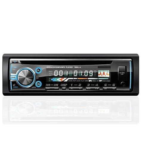 1 DIN Autoradio von AGPtEK, Bluetooth Audioreceiver, CD/DVD Player mit FM Radio, Fernbedienung & IOS Kabel mit enthalten, unterstützt MP3/USB/SD/AUX/FM/iPod/iPhone