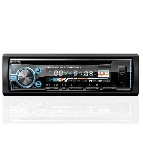 Autoradio AGPTEK 1 DIN Stéréo, façade autoradio Bluetooth lecteur CD DVD avec radio FM, télécommande & câble IOS inclus, Support MP3/USB/SD/AUX/FM/iPod/iPhone