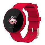 Reloj Inteligente Mujer,Reloj de Monitor de Ritmo cardíaco con Pantalla a Color, Pantalla de Reloj con Efecto de Despertador automático IP68 Reloj Inteligente Hombres (Rojo)