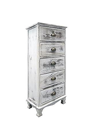 Rebecca Srl Commode Meuble de rangement 5 Tiroirs Bois Blanc Vintage Shabby Chic Chambre Entree Bain (Cod. 533CF)