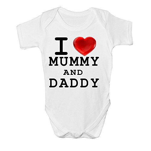 I LOVE MUMMY AND DADDY CUTE BABY BODY SUIT GROW VEST GIRL BOY GIFT IDEA NEW (New Born)