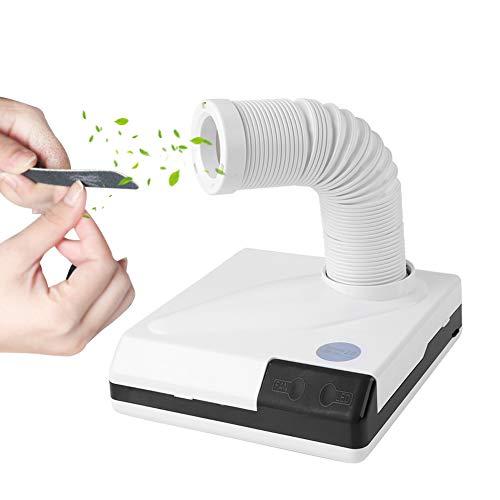 Aspirador de uñas, 60 W, 2 en 1, con luz LED, potente aspirador para manicura, color blanco