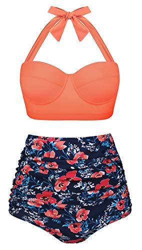 Angerella Vintage Halfter Orange Top Hoher Taille Gerüscht Blumen Bikini Set,4X-Large