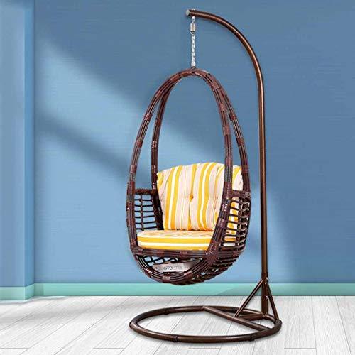 HYYTY-Y Hängender Korb-Stuhl im Freien, freies Geschenk-Kissen-Teppich-Garten-Schaukelstuhl 626-YY (Color : B) - Espresso Teppich