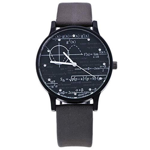 Black Dial + Gray Strap: Shenyo Math Watch, Formula Math Equation Uni Teen Quart Retro Leather W
