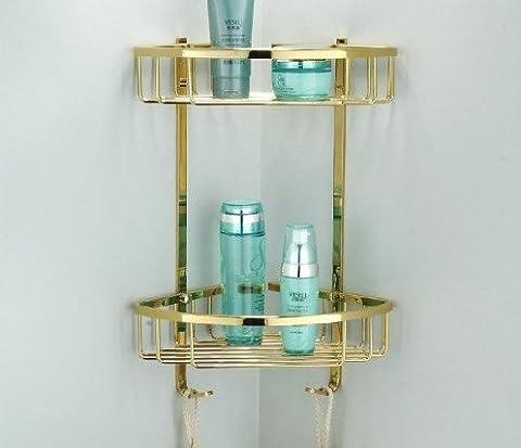 lilamp Dual Niveau eckenhalterung Golden Brass Salle de bain Étagère douche panier Caddy