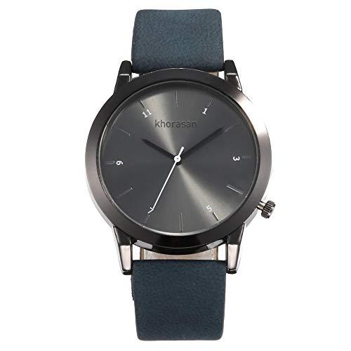 SHE.White Armbanduhr für Damen Slim Uhr mit Leder Armband Minimalistisches Design Klassiker Rund Uhren - Sehen Blau Leder-band Gesicht