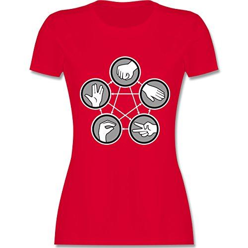... tailliertes Premium T-Shirt mit Rundhalsausschnitt für Damen Rot. Nerds  & Geeks - Rock Paper Scissors Lizard Spock - Schere Stein Papier Echse Spock  -