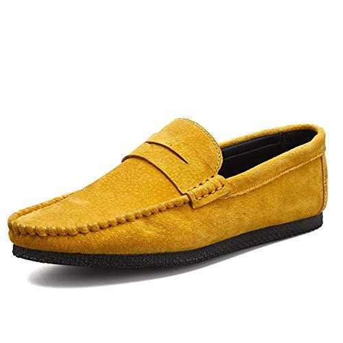 Sportliche Wildleder-kappe (BBTK Mode Driving Loafer Für Männer Boot Mokassins Slip On Wildleder Klassische Leichte Runde Kappe Freizeitschuhe (Color : Gelb, Größe : 43 EU))