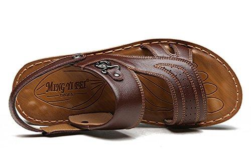 Icegrey Herren Leder Mode Sandalen Geschlossene Freizeit Hausschuhe Outdoor Sommer Strand Pantolette Braun
