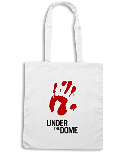T-Shirtshock - Borsa Shopping OLDENG00282 under the dome bloody hand mens vneck Bianco