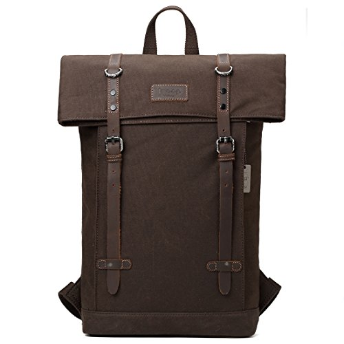 TRP0425 Troop London Heritage Canvas Leather Laptop Backpack Up To 15.6 Inch, Smart Casual Daypack with Foldable Top ║ H45 x W37 x D13 cm-Dark Brown - Heritage Top