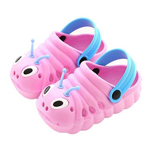 Kleine Tomate Unisex Kinder Hausschuhe Kinder Clogs Gartenschuhe Raupe Bequemer Atmungsaktiv Strand Aqua Slippers, Pink, Gr. 19(Schuhe Innenlänge:115mm)