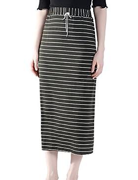 Bmeigo Mujer Larga Rayas Faldas Cintura Alta Maxi Falda -K22