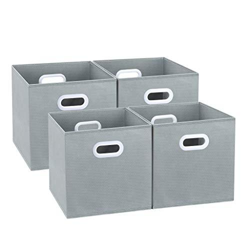 LANGRIA Faltbare Aufbewahrungsboxen mit Zwei Griffen und Kartonboden, zusammenklappbares Regal für Kinderzimmer, Spielzimmer, Büro, Schrank, Zuhause, 30,5 x 30,5 x 30,5 cm (4 Stück), Grau -