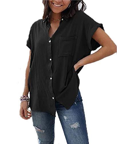 Yutila Damen Sommer Kurzarm Blusen Button Down hemdbluse Casual Shirt, Schwarz, XL(EU 42)