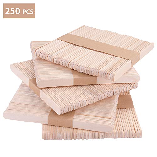 KATELUO 250 Stücke eisstiele,eisstiele au sholz,Holzstiele,Holzstäbchen für EIS am und Basteln DIY Handwerk