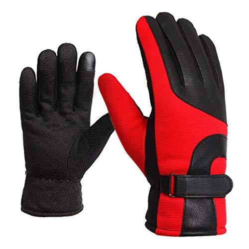 Warme, mit Wintervlies gefütterte Motorradhandschuhe Wasserdichter Touchscreen Winddichte Motorradhandschuhe Schwarz Grau DB01 Red XXL