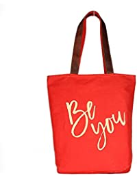 Be You Red Color Canvas Tote Shoulder Bag Stylish Shopping Casual Bag Foldaway Travel Bag