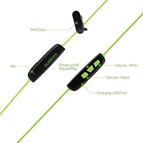 AUSDOM S09 In Ear Kopfhörer Bluetooth Sport Stereo Headset Ohrhörer Wasserdichte mit Mikrofon für iPhone, Android Smartphone - 4