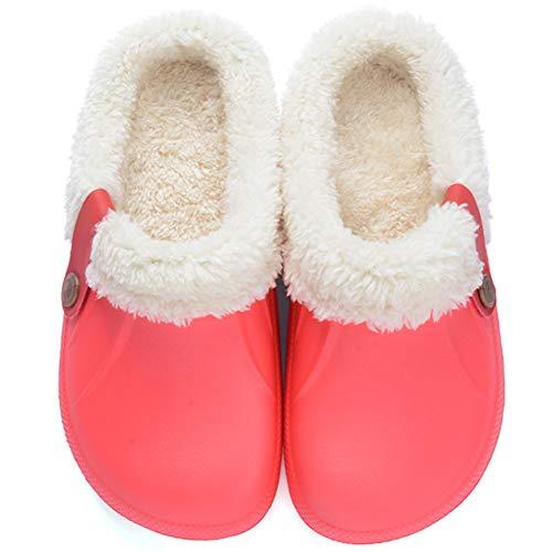 Flyd Hausschuhe Damen Herren Winter Warm Gefüttert Pantoffeln Clogs Haus Rutschfeste Plüsch Schlappen,Rot,Größe 39-40