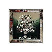 Atl Dekor ATL-1022-4 Izabel Yeşil Ağaç, Mozaik Ayna, 60x60 Cm