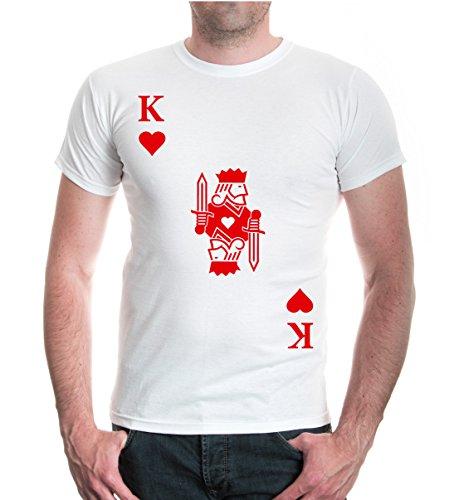 buXsbaum® Herren Unisex Kurzarm T-Shirt Bedruckt König Karte Herz  Spielkarte Kostüm Kartenspiel   XXL White-red - Der Herz König Kostüm Für Herren