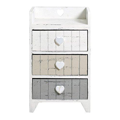 Rebecca srl comodino mobiletto cassettiera 3 cassetti rebecca love legno bianco grigio beige shabby chic retro arte povera camera (cod. re4378)