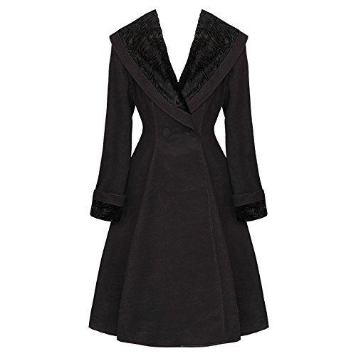 Hell Bunny Vivien Nero Vintage 50s Collo In Pelliccia Cappotto Invernale Qualità Eccellente - Nero, 10 S