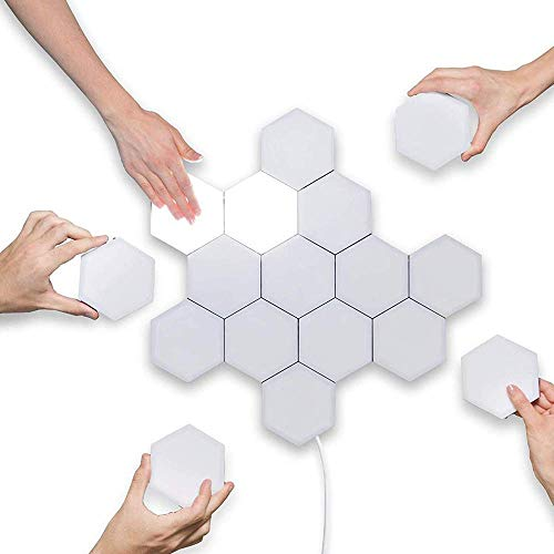 Jiadi Luces DIY Quantum, lámpara de Pared Hexagonal Asamblea Creativa de geometría LED Luz Nocturna Inteligente Sensible táctil Iluminación Modular