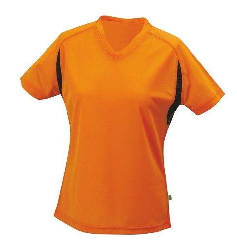 Ladies Sportshirt mit V-Ausschnitt Orange/Black