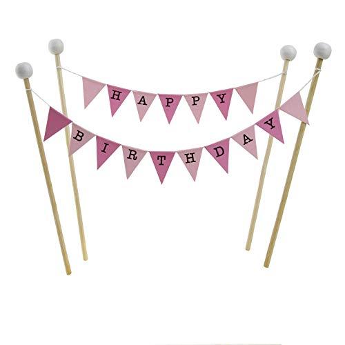 amazing buntings Geburtstagskuchen Dekoration, Rosa Pastell, Kleine Fahnen, 4 Bambus Sticks mit Holzperlen