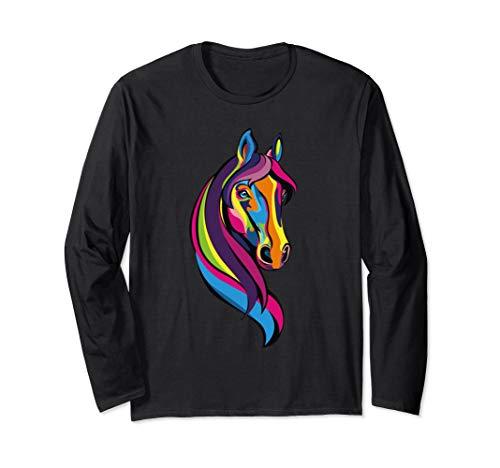 Pferde Gesicht Hübsch Für Pony Esel Reiten Pferdenaar  Langarmshirt (Esel Reiten Kostüm)