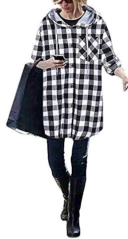 Damen Kapuzenpullover Hoodys Mantel Elegant Festlich Oversize Kariert Bluse Locker Lang Hoodies Langarm Kordelzug Mode Casual Große Größen Karo Oberteile Jacke Longshirt