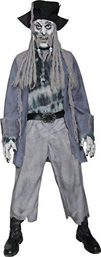 Smiffys, Herren Zombie-Geisterpirat Kostüm, Jacke, Hemd, Hose, Hut mit Dreadlocks, Maske und Handschuhe, Größe: M, 34118