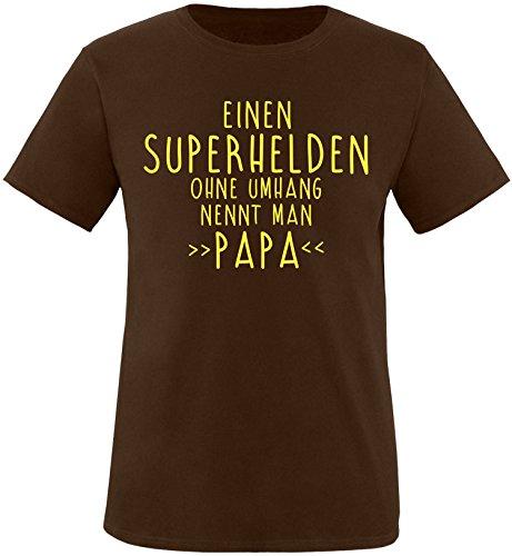EZYshirt® Einen Superhelden ohne Umhang nennt man Papa Herren Rundhals T-Shirt Braun/Gelb